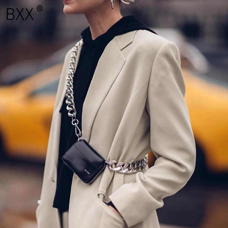 [BXX] 2019 Spring Summer Stylish Black White Colr Single Wide Chain Zipper PU Leather Small Messenger Bag All Match LM665