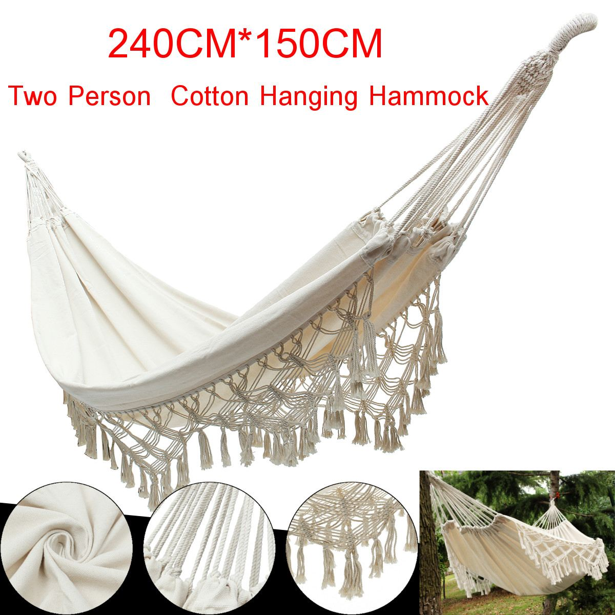 Thicken Double Hammock Chairs Swing Hanging Outdoor Camping Sleep Bed Dormitory Kids Hammock Hanging Chair Home Garden Cotton
