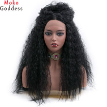 Mokogoddess 24 inch Long Afro Kinky Straight Black Wig Synthetic Lace Front Wig Heat Resistant Lace Front Wigs For Women все цены