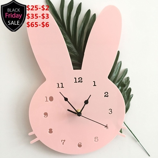 Nordic Wooden Rabbit Shaped Wall Clock Kids Room Decor for Baby Boys Girls, Gender Neutral Wall Clock Nursery Baby Shower Gift