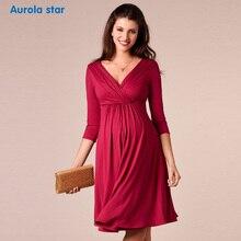 Платье для беременных женщин, однотонные Элегантные красные платья для беременных, платья для будущих мам для беременных женщин, ежедневные платья с v-образным вырезом, новое праздничное платье