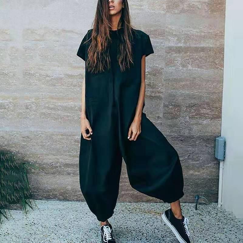 Ladies Fancy Party Wear Harem   Jumpsuit   Womens Short Sleeve Baggy Wide Leg Pants