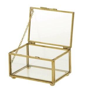 Геометрический стеклянный стиль шкатулка для ювелирных изделий контейнер для демонстрации ювелирных изделий Keepsakes домашние декоративные ...
