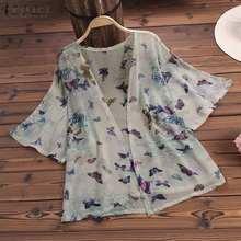 Women Tops Blouse ZANZEA 2019 Summer Loose Shirt Print Kimono Cardigan  Blusa Feminina Beach Covers Up Outwear Oversize