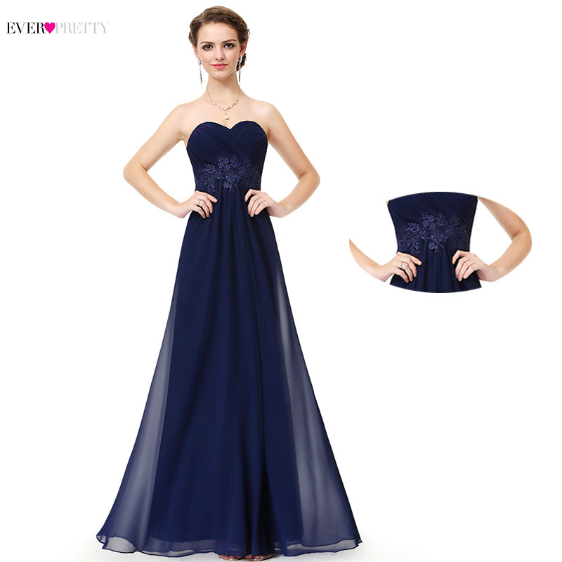 Elegant Navy Blue Lace Appliques Evening Dresses Ever Pretty EP08864 Sexy A-line Chiffon Long Party Gowns For Wedding Guest 2019