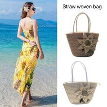 Sunflower Flower Tote Bag Shoulder Bag Cotton Linen Leisure Beach Straw Woven Large Single Shoulder Bag For Women Girl leisure straw and sequins design shoulder bag for women