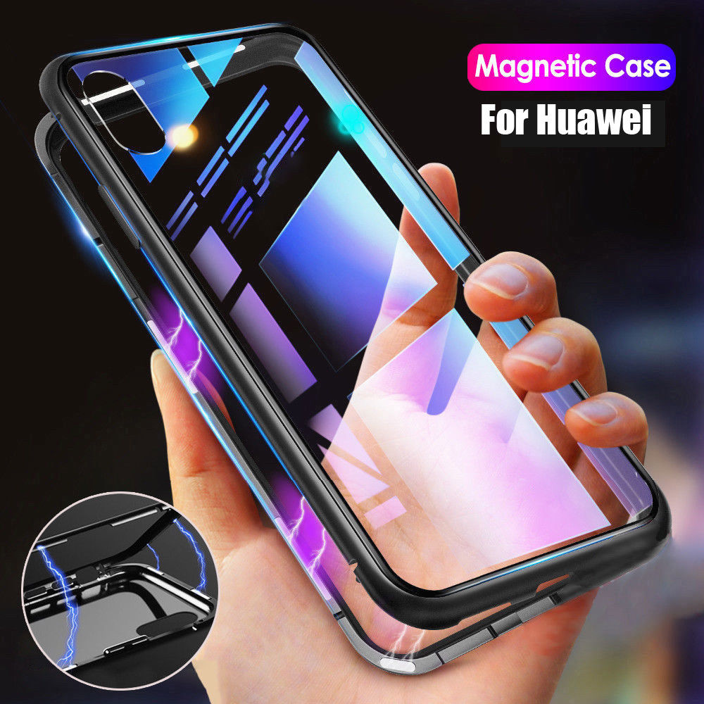 huge sale a74d9 0f676 Magnetic Case for Huawei Mate 20 Lite P20 Metal Tempered Glass Back Magnet  Cases Cover for Huawei Honor 8X Case