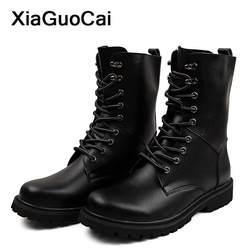 Осень-зима мужские мотоботы военный кожаная мужская обувь с высоким берцем на шнуровке сапоги мужские короткие мода плюс Размеры обувь