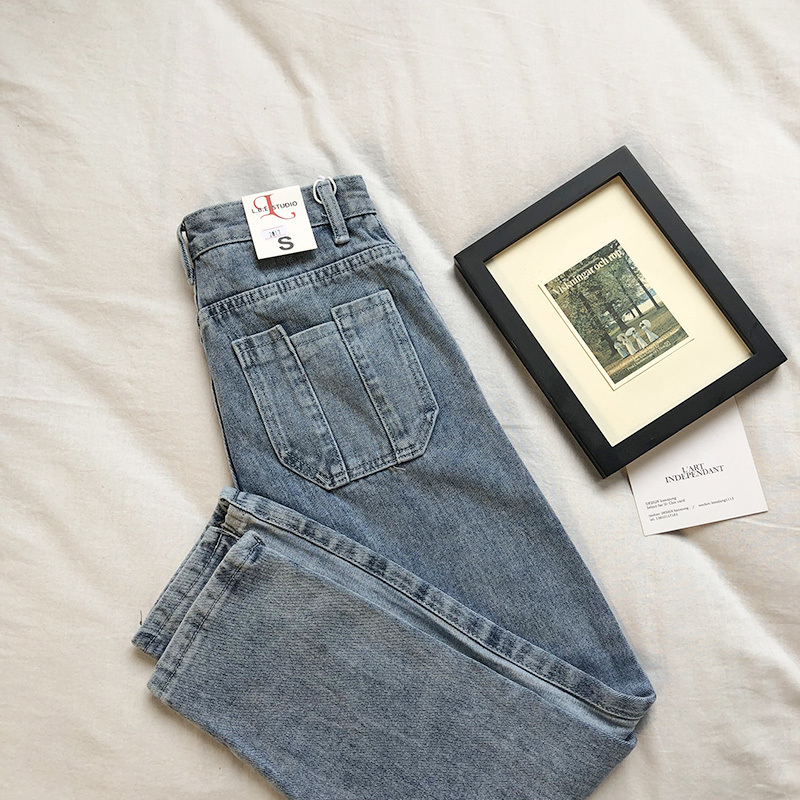 Vintage Side Stripes Women   Jeans   High Waist Blue Denim Pants