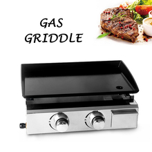 Купить с кэшбэком ITOP 2 Burners BBQ Grills BBQ Griddle GasPlancha Non-stick Iron Cooking Plate Barbecue Tools CE Certification Outdoor Use