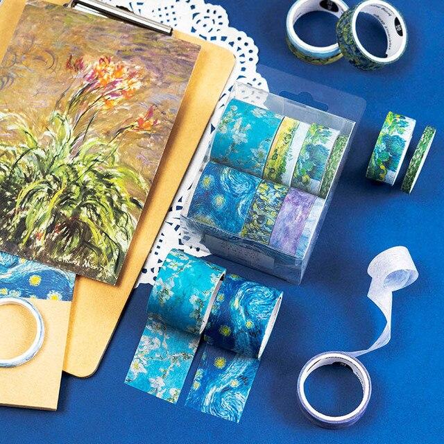 8 piezas Kawaii cereza cinta adhesiva Linda Van Gogh Washi cinta fantasía cinta adhesiva decorativa para álbum de recortes diario fotos álbumes