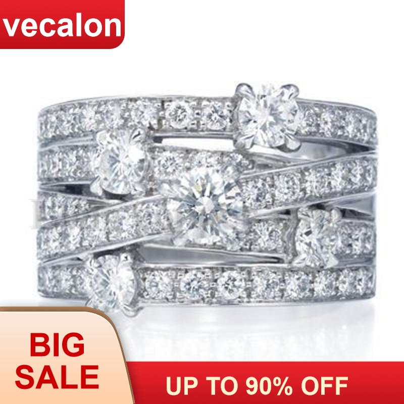 Women Fashion Jewelry 5A Zircon CZ Ring Sterling Silver Engagement Wedding Band