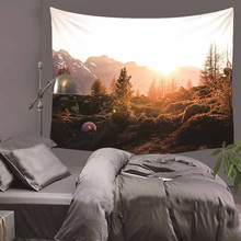 Mysterious Splendid Mountain Natural Scenery Tapestry Polyester Wall Art Hanging Gobelin Modern Bedroom Home Decor
