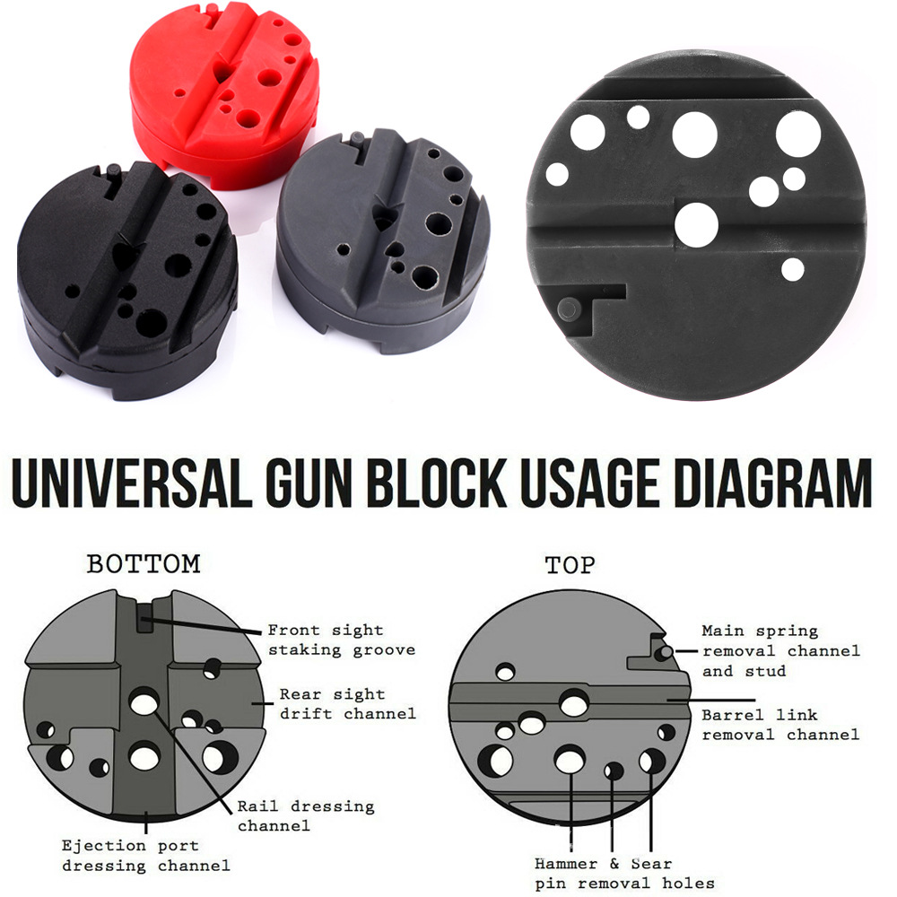 Tactical Universal Gunsmithing Bench Block Handgun Pistol M1911 Ruger 10/22s Style Reassemble Firearm Assembly