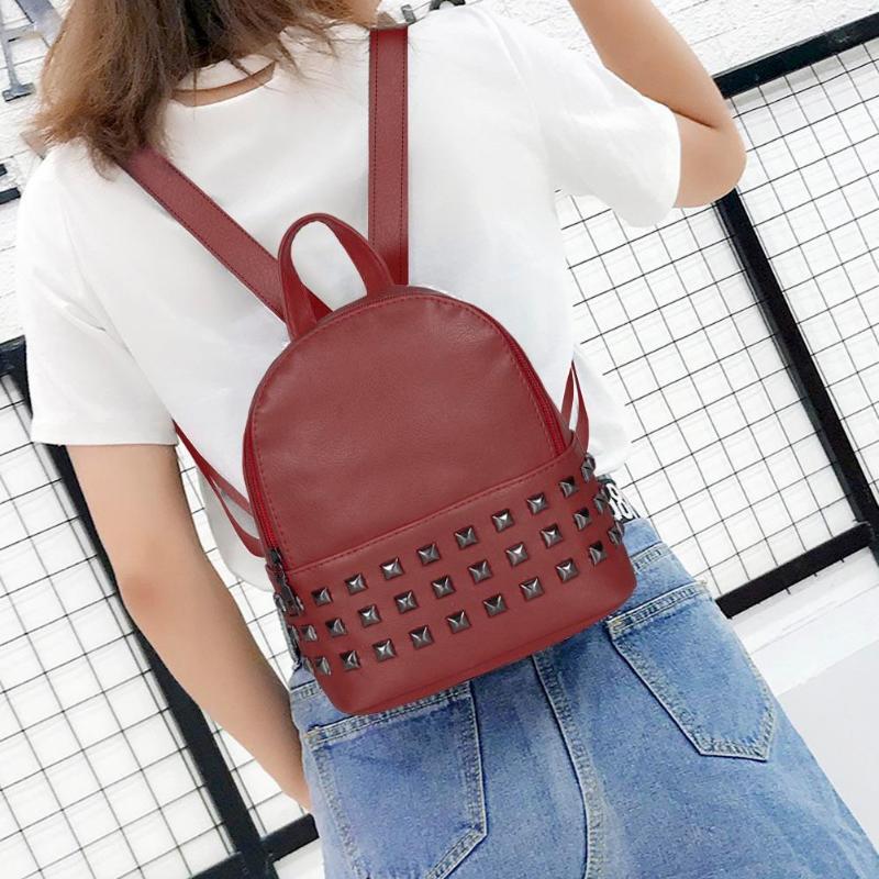 Black Fashion PU Leather Backpack Casual Shoulder Bag Travel School Bag for Women /& Girls Square Rivet Design