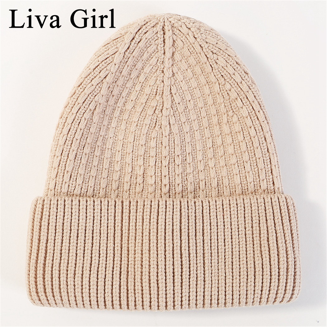 100% Quality Liva Girl Brand Fashion Solid Color Knit Beanies Hat Winter Hats Warm Man Women Multiple Color Skullies Ski Soft Cap Beanies Cool In Summer And Warm In Winter