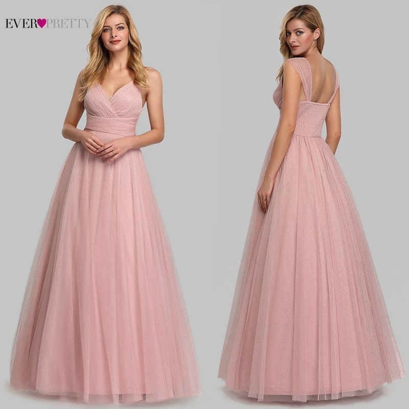 Elegant Pink   Bridesmaid     Dresses   Long Ever Pretty A-Line Sleeveless Sweetheart Wedding Party   Dresses   2019 Vestido De Festa Longo