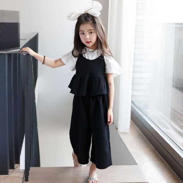 b6270af4ea7 2 Pcs Teenage Girls Clothing Sets Spring Summer Sets 2019 Cotton Little Girls  Outfits Ruffles Vest Loose Pants Clothes Suits