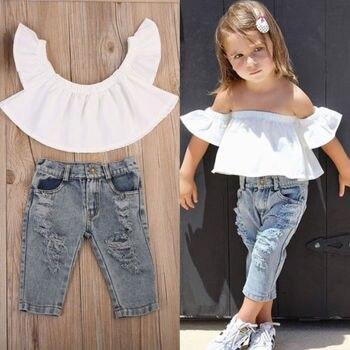 7945659a7 2019 nueva moda Niños Niñas Ropa hombro Tops blanco + Denim agujero  pantalón Jean diadema 2 piezas de niño ropa de los niños