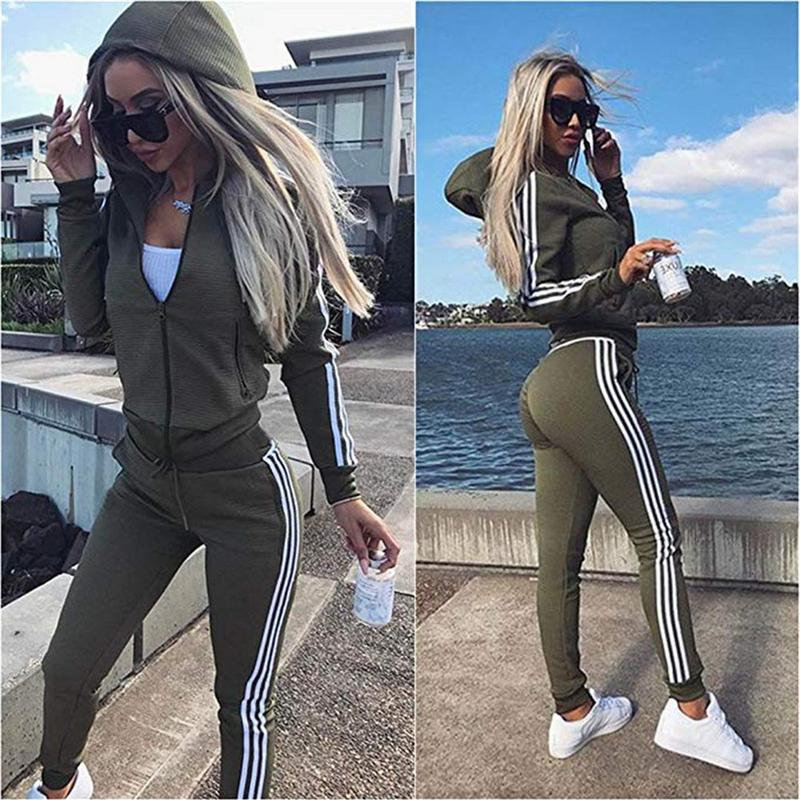 Woman Striped Loose 2 Pieces Sweater Suit Set Tracksuit Long Sleeve Top And Pants Spring Autumn Casual Sportswear 2PCS
