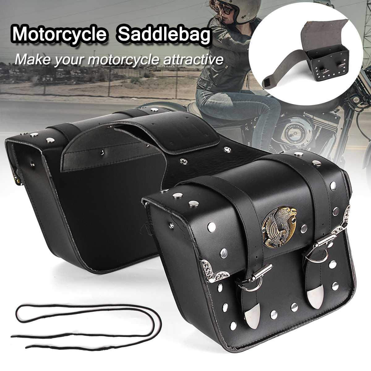 2 шт мотоциклетные универсальные черные седельные сумки из искусственной кожи, седельные сумки, сумки для инструментов, мотоциклетные багажные сумки для Harley