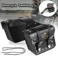 2pcs Motorcycle Universal Black PU Leather Motorcycle Saddlebags Saddle Tool Bags Motorbike Luggage For Harley