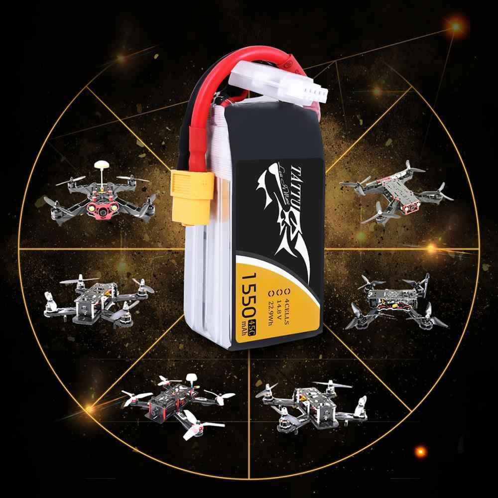 Литий-полимерный аккумулятор tattu 4S 1550 мАч Lipo 14,8 V XT60 штекер 45C Max 90C RC Батарея для Дрон квадкоптер с управлением с видом от первого лица автомобильный мини-Дрон лодка