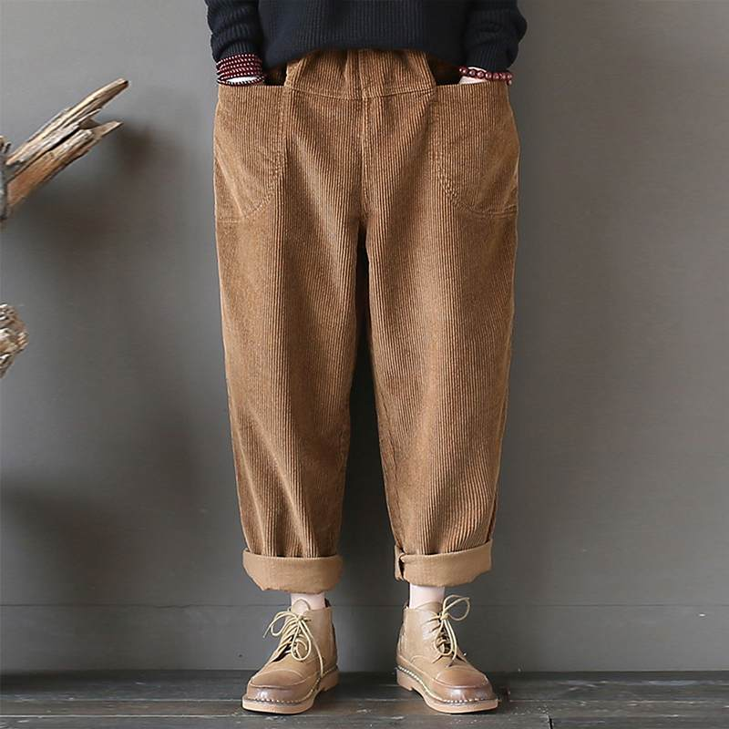 2019 Spring Fashion   Wide     Leg     Pants   Women Casual Elastic Waist Solid Pockets Harem Trousers Vintage Corduroy Loose Long Pantalon