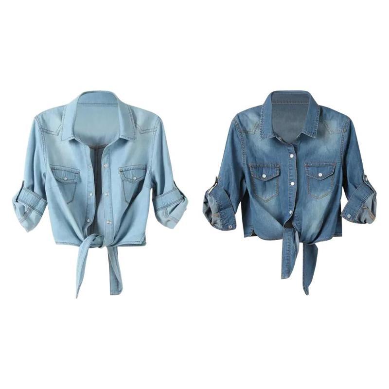 Women Roll Up Sleeves Fashion Crop Tops Slim Fit Button-Down Denim Shirts