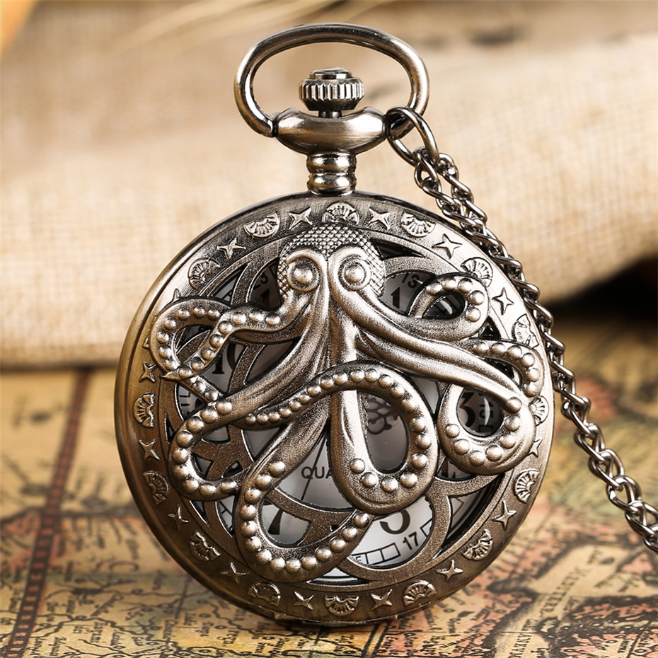 Retro Octopus Hollow Half Hunter Quartz Pocket Watch Vintage Grey/Bronze Necklace Pendant Clock For Kids Men Women Reloj