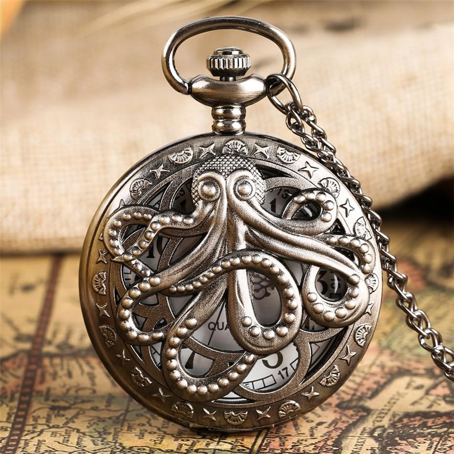 Retro Octopus Hollow Half Hunter Quartz Pocket Watch Vintage Grey/Bronze Necklace Pendant Clock For Kids Men Women Reloj