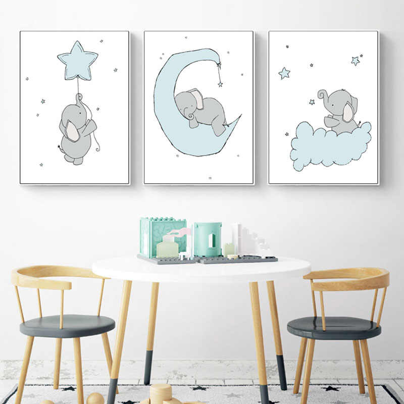 Baby Boy Nursery Wall Art Canvas Painting Cartoon Posters and Prints Elephant Moon and Start Picture Nordic Kids Room Decoration