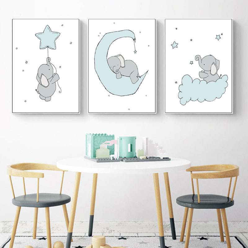Baby Boy Nursery Wall Art Canvas