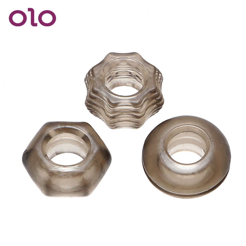 OLO 3Pieces/set Cock Ring Penis Ring Chastity Extender Ring Erotic Sex Toys For Men Penis Enlargement Sleeve Delay Ejaculation
