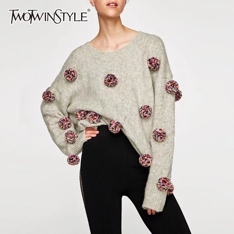 TWOTWINSTYLE Patchwork Hair Bulb Pullover Tops Female O Neck Long Sleeve Knitting Sweater Women Casual Fashion 2019 Spring New