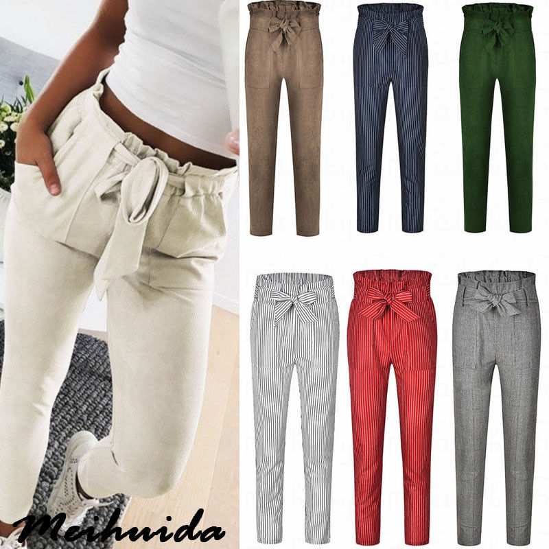 Fashion Casual Women High Waist Paperbag Trousers Ladies Striped Cigaratte Pants Size 6-14