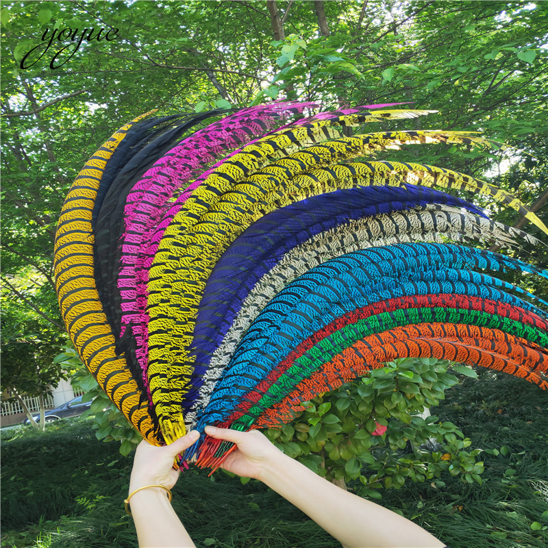 10Pcs 32 36 80 90CM Natural Dyed Zebra Lady Amherst Pheasant Tail Feathers For Crafts Super