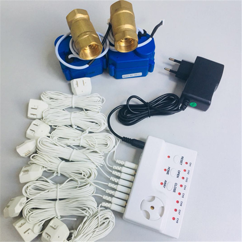 HIDAKA US EU Adaptor Wire House Alarme Water Leak Detector with 6m Motion Sensor and Alarm Control Unit(DN20*2pcs)BSP NPT thread