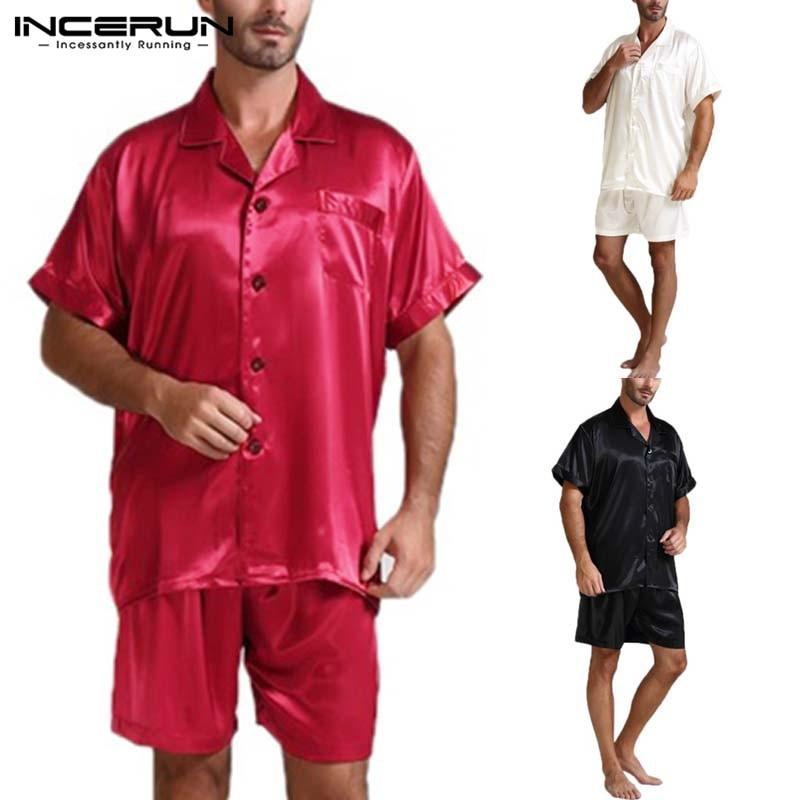 Fashion Mens Silk Satin Pajamas Sets Sleepwear Sexy Leisure Homewear Short Sleeve Tops And Shorts Soft Pajama Men Two Piece Suit