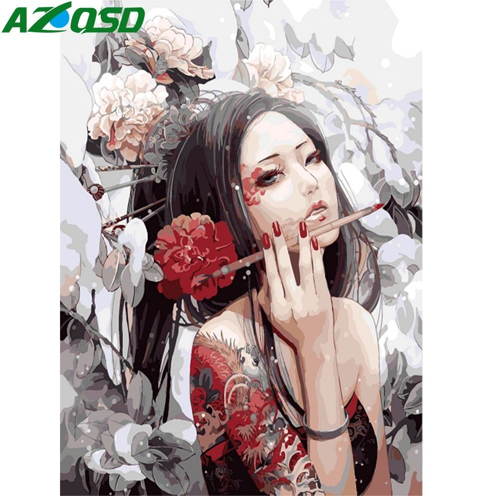 AZQSD Oil Painting Cartoon Painting By Numbers Girl Paint Canvas Picture DIY Scenery Hand Painted Modern Home Decor SZYH6229