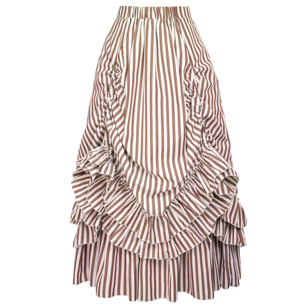 Retro Vintage Gothic Style maxi skirt long party club steampunk ruched ruffle design Black & White Stripes Bustle Skirts womens