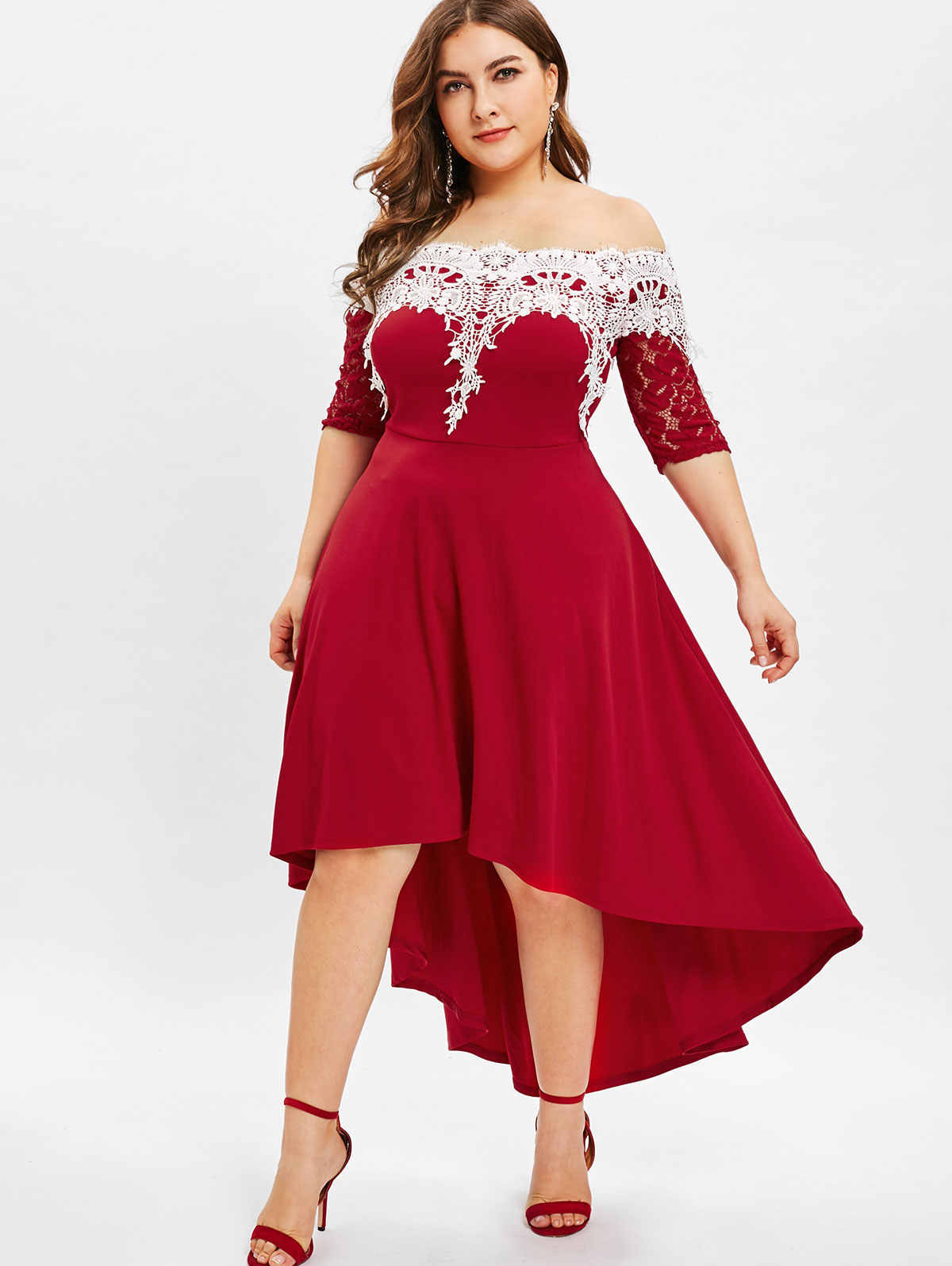 b4e794da7b5 Wipalo Lace Panel Off The Shoulder Plus Size High Low Dress Half Sleeves  Mid Calf Solid