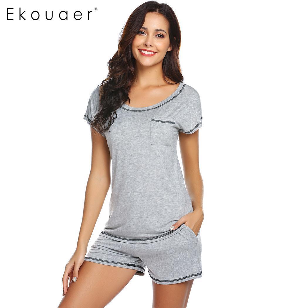 Ekouaer Women Sleepwear   Pajamas     Sets   Casual O-Neck Short Sleeve Loose Pijama   Set   Ladies Cozy Nightwear Homewear Suits S-XXL