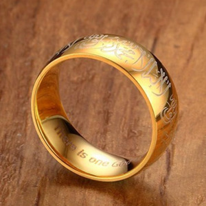 Image 3 - Islamic Muslim Shahada Allah Ring Gold Stainless Steel Religious Moslem For Wedding Rings Anillos Bague Homme Anel Masculino