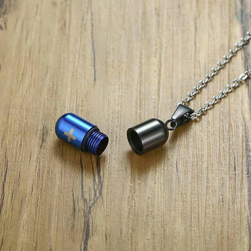 Silver Men Women Stainless Steel Small Capsule Shape Pendant Necklace