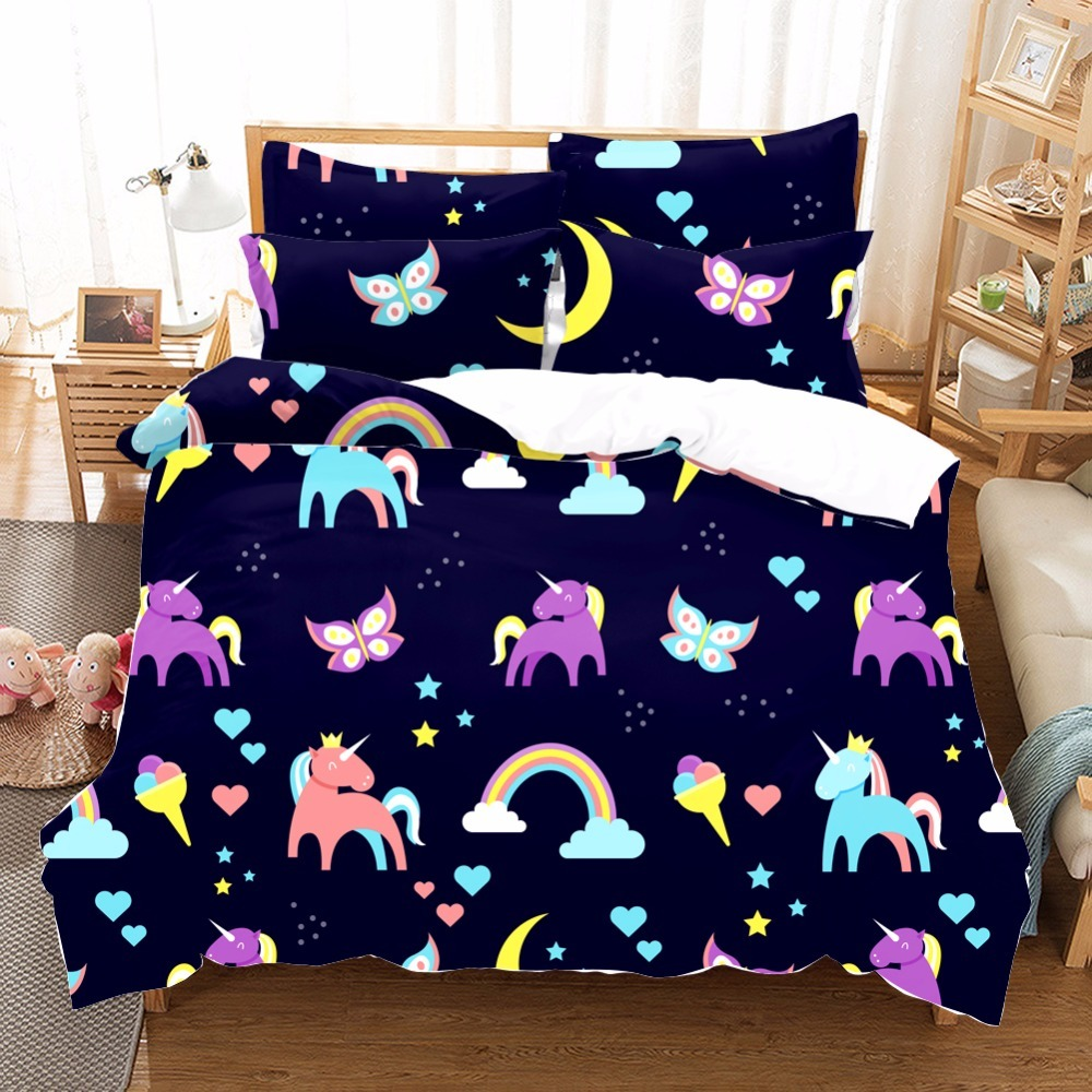 Unicorn Bedding Set Rainbow Cartoon Duvet Cover Pillow Cases Twin Full Queen King Super King Size Kids Bedclothes Bed Cover D