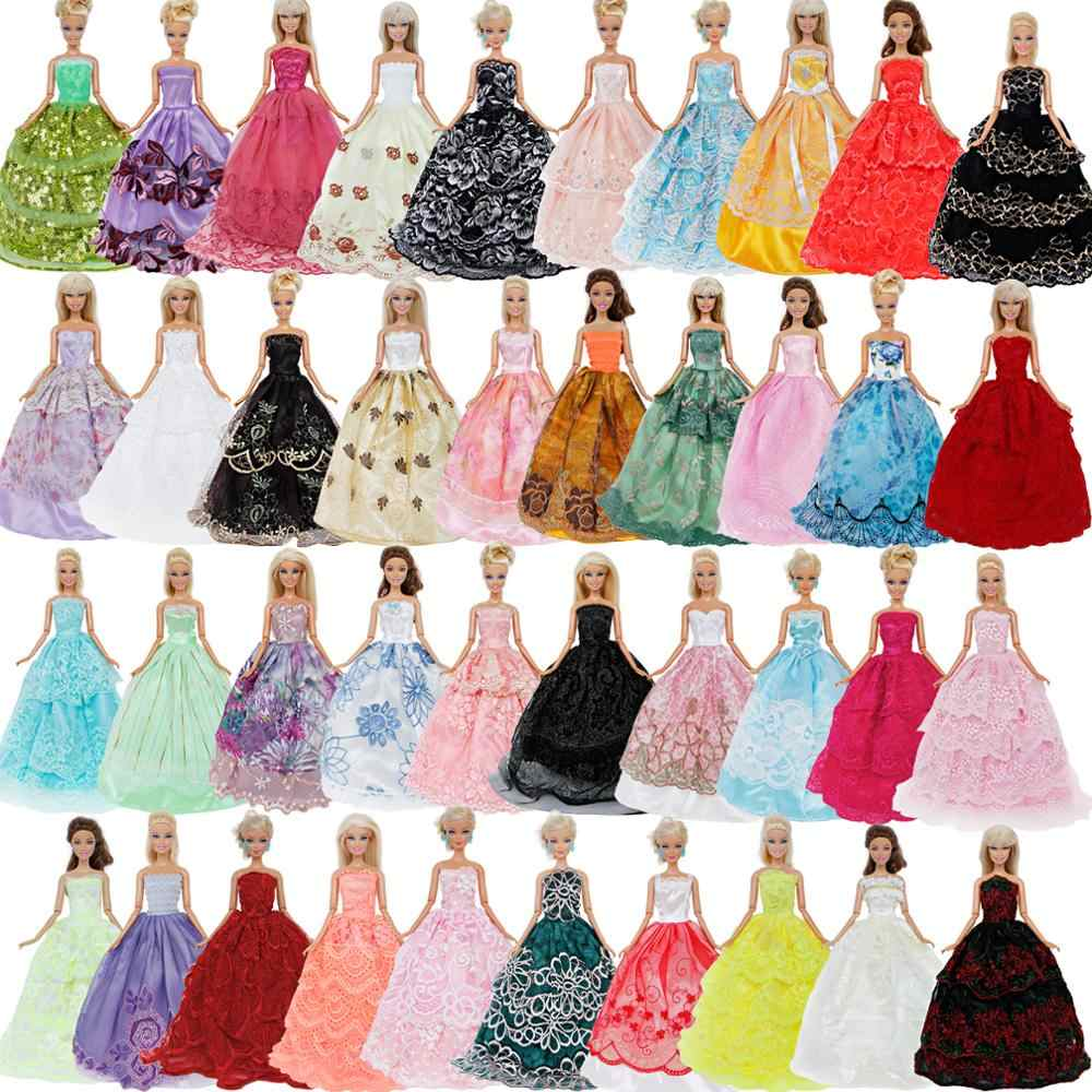 1 x Random Handmade Lace Wedding Dress Evening Party Ball Gown Dollhouse Accessories Princess Clothes for Barbie Doll Lot Style