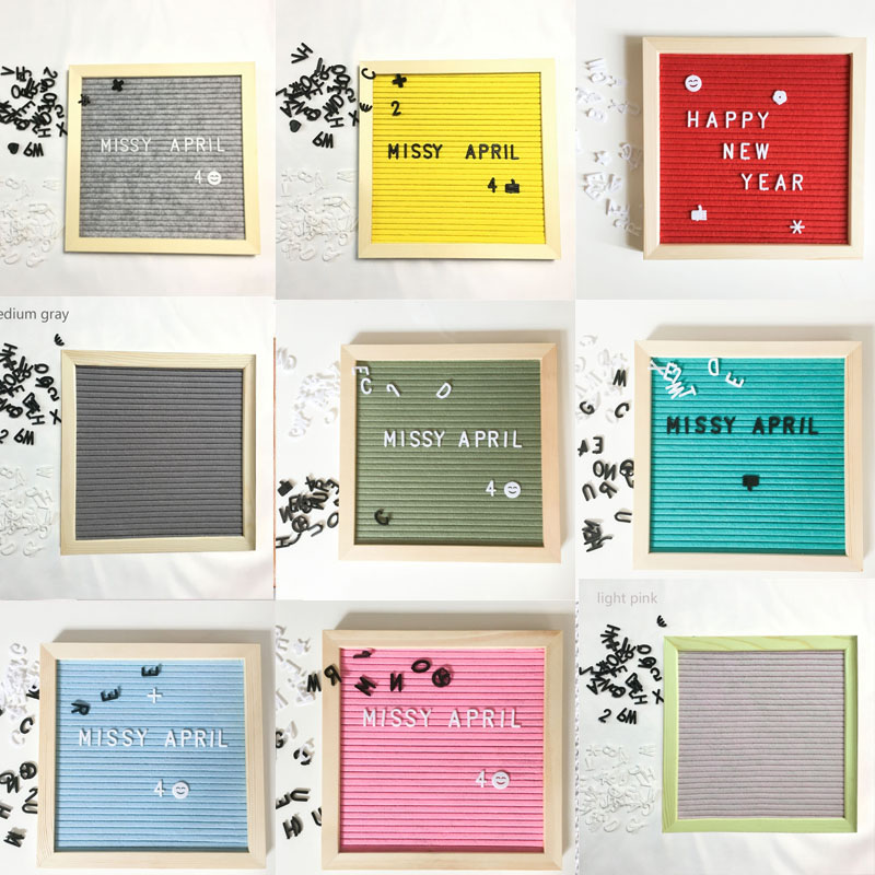 US $15 14 15% OFF Wooden Frame Office Home Decor Characters Message Boards  Changeable Symbols Numbers Decoration Crafts Felt Letter Board-in