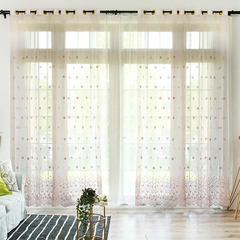Simple Fresh Rose Embroidered Screen Curtains Tulle For Living