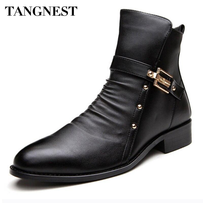 Tangnest/Новинка 2017 года, мужские зимние ботинки, мужские ботинки из натуральной кожи, мужские Ботинки martin в британском стиле в стиле ретро, Мужс...